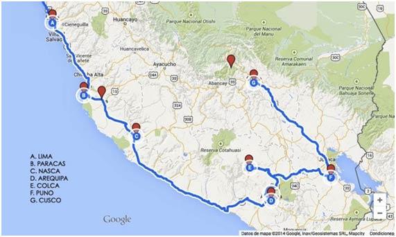 Viaje a Perú mapa Ruta Amaru